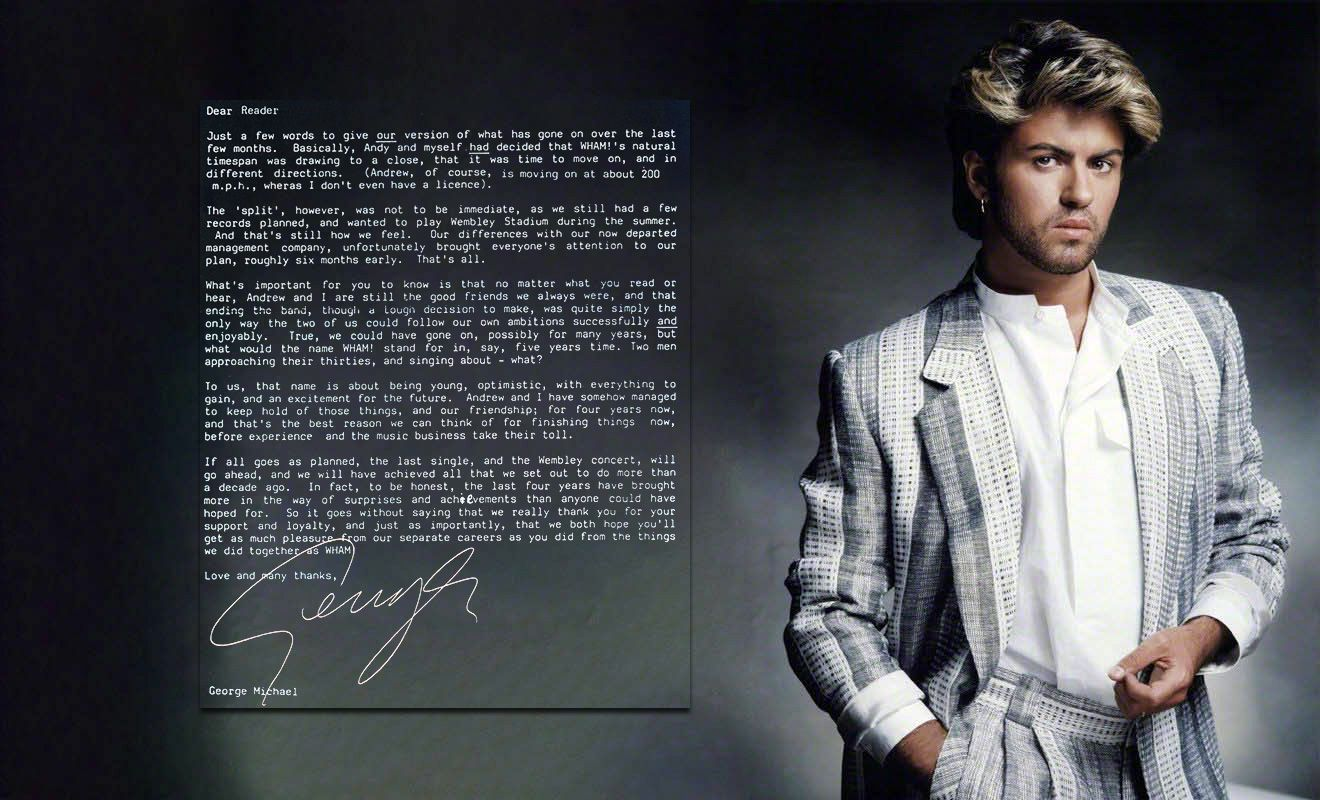 George Michael and Andrew Ridgeley in the official programme for